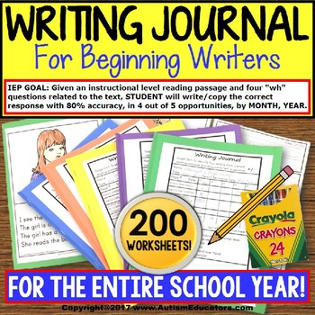 """WRITING JOURNAL """"Wh"""" Prompts and DATA For Special Education GROWING BUNDLE"""
