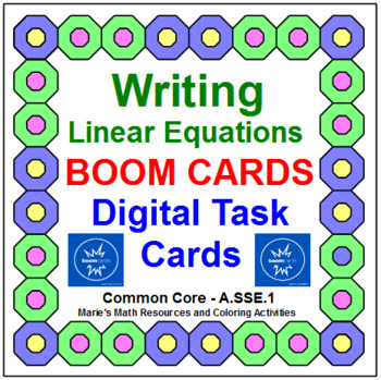 """WRITING LINEAR EQUATIONS: """"DIGITAL"""" BOOM CARDS (24 TASK CARDS)"""