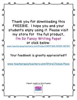 WRITING PAPER SAMPLE FREEBIE