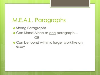 WRITING PARAGRAPHS- A Formula to Paragraph Writing- M.E.A.L. Paragraph Format