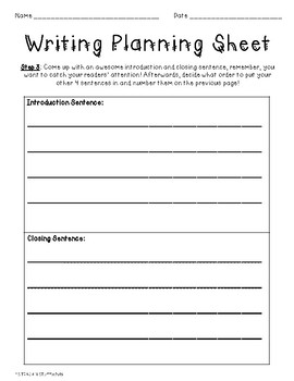 WRITING PLANNING SHEETS