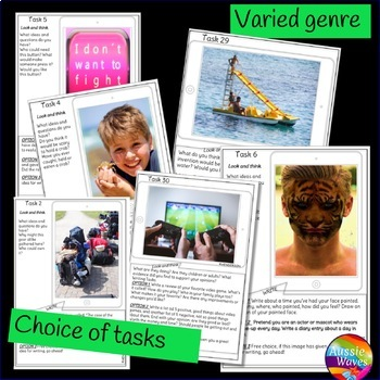 WRITING PROMPTS Picture Task Cards Stimulate ideas for Individual Writing SET 5
