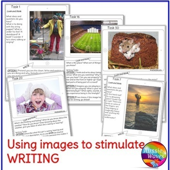 WRITING PROMPTS Visual Picture Task Cards Literacy Center BUNDLE