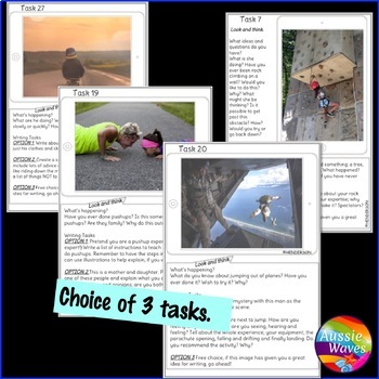 WRITING PROMPTS Task Cards IMAGES to Stimulate ideas SET 2 Writing Varied Genre