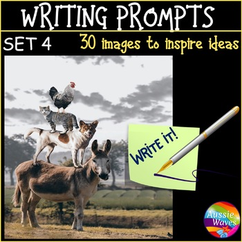 WRITING PROMPTS Task Cards IMAGES to Stimulate ideas SET 4 Writing Varied Genre