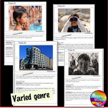 WRITING Task Cards IMAGE PROMPTS SET 1 Writing Varied Genre for Writing Centers