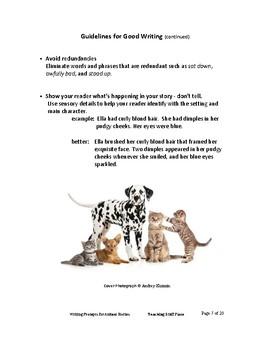 CREATIVE Writing Prompts | ANIMAL Stories|Tips | Word Banks| Rubrics | Checklist