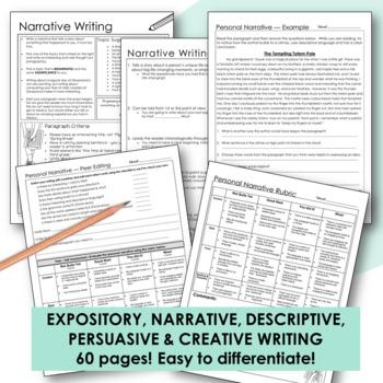 WRITING - Persuasive, Narrative, Expository & Descriptive Writing Bundle