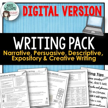 WRITING - Narrative, Persuasive, & Descriptive Writing -DIGITAL / GOOGLE Version
