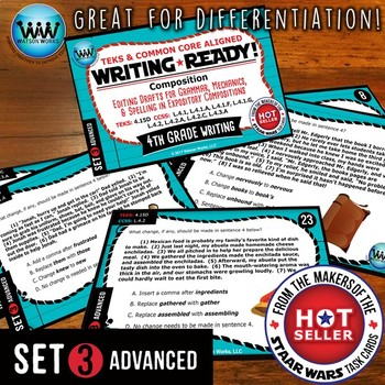 WRITING READY 4th Grade Task Cards - Editing Drafts ~ ADVANCED SET 3