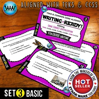 WRITING READY 4th Grade Task Cards - Using Correct Capitalization ~ BASIC SET 3
