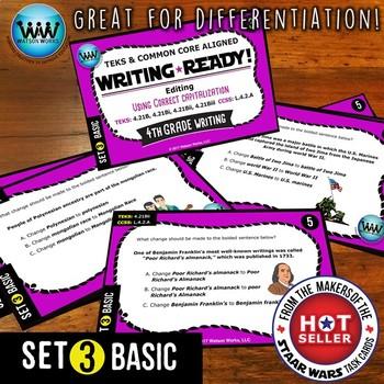 WRITING READY 4th Grade Task Cards - Using Correct Capitalization ~ BASIC SET 3