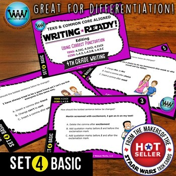 WRITING READY 4th Grade Task Cards - Using Correct Punctuation ~ BASIC SET 4
