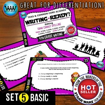 WRITING READY 4th Grade Task Cards - Using Correct Spelling ~ BASIC SET 5