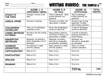 WRITING RUBRIC The Simple 6 by Kay Davidson