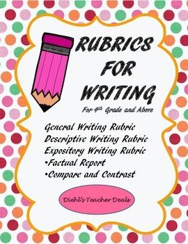 WRITING RUBRICS Back to School