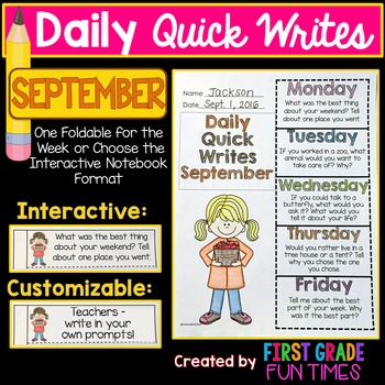 September Quick Writes Writing Prompts Fall Writing