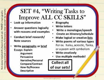 WRITING TASKS To IMPROVE CC SKILLS SET FOUR Gr. 8 9 10 11 12 - U.S. Pride!