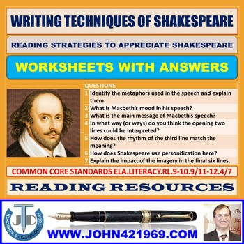 WRITING TECHNIQUES OF SHAKESPEARE WORKSHEETS WITH ANSWERS