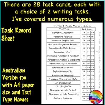 WRITING Task Cards with Picture Prompts Individual Daily Writing Tasks