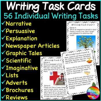 WRITING Task Cards Writing Center Ideas Individual Writing