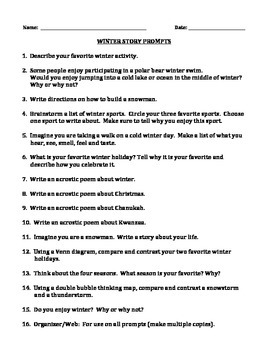 WINTER WRITING PROMPTS (Grades 2-4)
