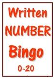 WRITTEN NUMBER BINGO ~ 0-20