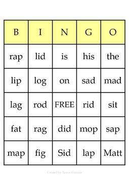 Bingo Initial f,l,m,n,r,s sounds; d,g,p,t final sounds, a,i,o blending sounds