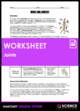 Worksheet - What are Joints and Types of Synovial Joints (HS-LS1)