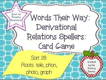 WTW: Derivational Relations: Sort 28: Greek/Latin Roots: tele/ phon/ photo/graph