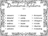 WTW Derivational Relations Sort Set