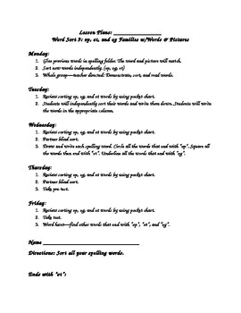 WTW Sort 9 Lesson Plans