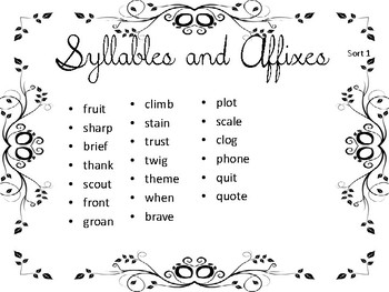 WTW Syllables and Affixes Sort Set