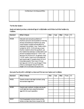 WV College and Career Readiness Standards Checklist - 6th Grade Math