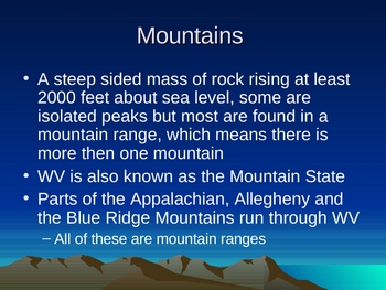 WV Landforms Powerpoint