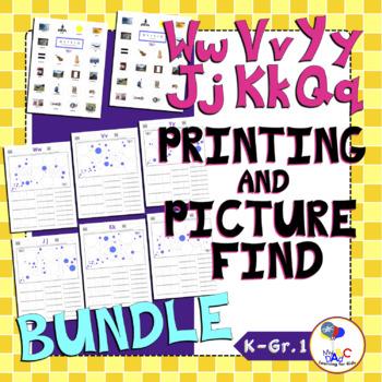 Letters Ww Vv Yy Jj Kk Qq Printing and Picture Find Worksheets BUNDLE