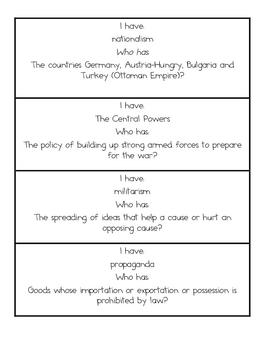 WW I Vocabulary Game