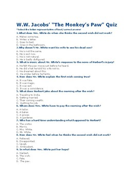 "WW Jacobs' ""The Monkey's Paw"" Quiz 60 Mult. Choice Ques w/ Answer Key)"