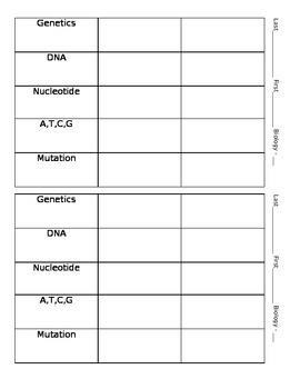 DNA Vocabulary Quiz