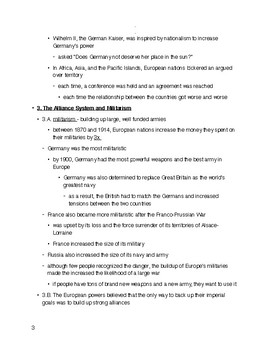 WW1 Complete Unit Outline W/ Assessment