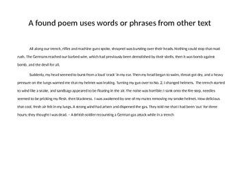 WW1 Found Poem Powerpoint