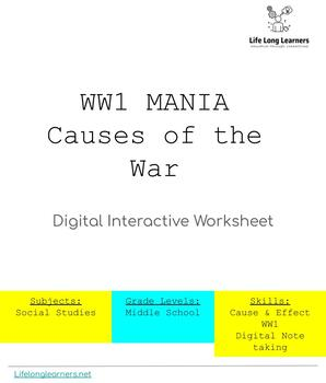 WW1 MANIA: Interactive Digital Worksheet