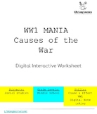 WW1 MANIA: Interactive Digital Worksheet