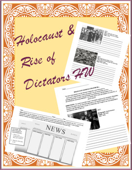 Rise Of Dictators World War 2 Holocaust Homework Set