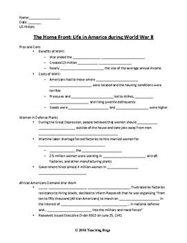 WW2 Home Front notes