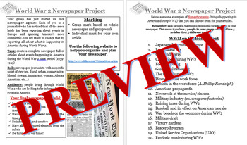 WW2 On the Home Front- Newspaper Project - Editable