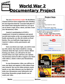 WW2 on the Home Front - Documentary Project - Editable Word Doc