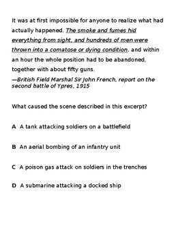 WWI-1920s STAAR questions for ELL and SPED
