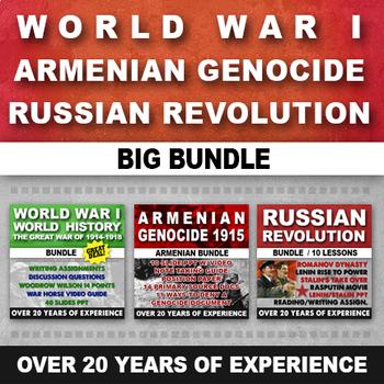WORLD WAR I, ARMENIAN GENOCIDE, RUSSIAN REVOLUTION, READING AND WRITING BUNDLE