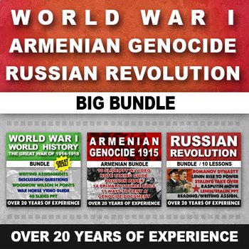 WORLD WAR I, ARMENIAN GENOCIDE, RUSSIAN REVOLUTION, READING AND WRITING BUNDLE